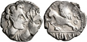 CELTIC, Central Gaul. Arverni. Circa 75-50 BC. Drachm (Silver, 15 mm, 2.00 g, 8 h), Epomeduos. Two juvenile male busts to right, both wearing torques....