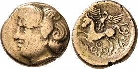 CELTIC, Central Gaul. Bituriges Cubi. Circa 80-50 BC. Stater (Electrum, 19 mm, 6.69 g, 9 h), Abucatos. Celticized male head to left with thick and pro...