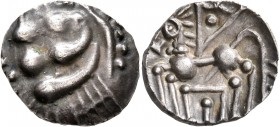 CELTIC, Southern Gaul. Elusates. Circa 2nd century BC. Drachm (Silver, 18 mm, 3.34 g). Devolved and disjointed male head to left. Rev. Stylized horse ...