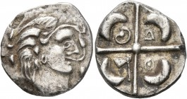 CELTIC, Southern Gaul. Longostaletes. 2nd century BC. Drachm (Silver, 17 mm, 3.10 g), 'à la croix' type. Celticized male head to right with volutes be...