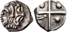 CELTIC, Southern Gaul. Longostaletes. 2nd century BC. Drachm (Silver, 16 mm, 3.53 g), 'à la croix' type. Male head with elaborate hair to left. Rev. L...