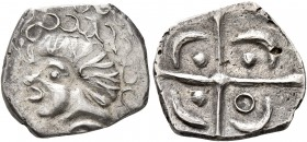 CELTIC, Southern Gaul. Volcae-Arecomici. Late 2nd to early 1st century BC. Drachm (Silver, 15 mm, 2.09 g), 'à la croix' type. Celticized male head to ...
