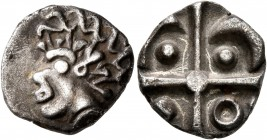 CELTIC, Southern Gaul. Volcae-Arecomici. Late 2nd to early 1st century BC. Drachm (Silver, 15 mm, 2.46 g), 'à la croix' type. Celticized male head wit...