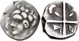 CELTIC, Southern Gaul. Volcae-Tectosages. 2nd century BC. Drachm (Silver, 15 mm, 3.55 g), 'à la croix' type. Celticized male head to left; before, two...
