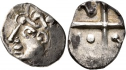 CELTIC, Southern Gaul. Volcae-Tectosages. Mid 2nd to early 1st century BC. Drachm (Silver, 16 mm, 2.66 g), 'à la croix' type. Celticized male head to ...