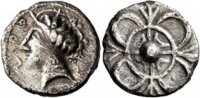 CELTIC, Southern Gaul. Uncertain tribe. Circa 2nd century BC. Drachm (Silver, 18 mm, 4.19 g), imitating Rhode. Celticized head of Persephone to left, ...