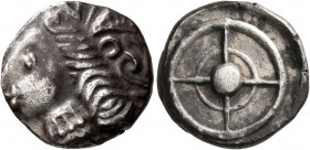CELTIC, Southern Gaul. Uncertain tribe. Circa 2nd century BC. Drachm (Silver, 17 mm, 4.93 g), imitating Rhode. Celticized head of Persephone to left, ...
