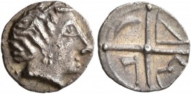CELTIC, Southern Gaul. Uncertain tribe. Circa 2nd century BC. Obol (Silver, 9 mm, 0.47 g), imitating Massalia. Male head to right. Rev. Wheel of four ...