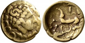 CELTIC, Central Europe. Helvetii. Late 2nd to early first century BC. Quarter Stater (Gold, 13 mm, 1.81 g, 3 h), 'au croissant' type. Celticized laure...