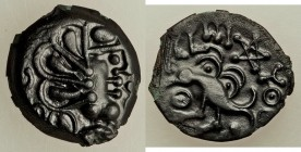 NORTHERN GAUL. Senones. Ca. 100-50 BC. Potin cast unit (16mm, 2.13 gm, 3h). XF. Celticized head right / YLLVCCI, Celticized eagle left; pentagram and ...