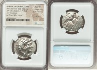MACEDONIAN KINGDOM. Alexander III the Great (336-323 BC). AR tetradrachm (26mm, 17.15 gm, 7h). NGC Choice VF 4/5 - 4/5, die shift. Late lifetime or ea...