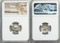 MACEDONIAN KINGDOM. Alexander III the Great (336-323 BC). AR drachm (18mm, 1h). NGC Choice XF. Early posthumous issue of Teos, ca. 310-301 BC. Head of...