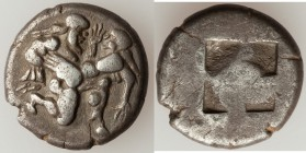 THRACIAN ISLANDS. Thasos. Ca. 525-500 BC. AR stater (19mm, 7.39 gm). VF. Thasian standard. Nude ithyphallic satyr running right, carrying struggling n...