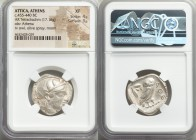 ATTICA. Athens. Ca. 455-440 BC. AR tetradrachm (25mm, 17.16 gm, 11h). NGC XF 4/5 - 3/5. Early transitional issue. Head of Athena right, wearing creste...