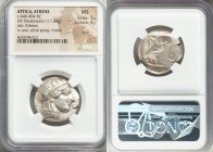 ATTICA. Athens. Ca. 440-404 BC. AR tetradrachm (25mm, 17.20 gm, 6h). NGC MS 5/5 - 4/5, scuff. Mid-mass coinage issue. Head of Athena right, wearing cr...