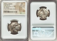 ATTICA. Athens. Ca. 440-404 BC. AR tetradrachm (24mm, 17.22 gm, 4h). NGC MS 5/5 - 3/5. Mid-mass coinage issue. Head of Athena right, wearing crested A...