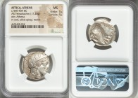 ATTICA. Athens. Ca. 440-404 BC. AR tetradrachm (25mm, 17.20 gm, 4h). NGC MS 3/5 - 4/5. Mid-mass coinage issue. Head of Athena right, wearing crested A...
