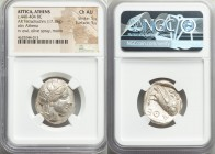 ATTICA. Athens. Ca. 440-404 BC. AR tetradrachm (24mm, 17.18 gm, 3h). NGC Choice AU 5/5 - 5/5. Mid-mass coinage issue. Head of Athena right, wearing cr...
