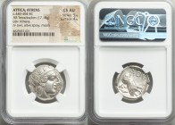 ATTICA. Athens. Ca. 440-404 BC. AR tetradrachm (24mm, 17.18 gm, 10h). NGC Choice AU 5/5 - 4/5. Mid-mass coinage issue. Head of Athena right, wearing c...