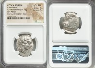 ATTICA. Athens. Ca. 440-404 BC. AR tetradrachm (27mm, 17.18 gm, 7h). NGC Choice AU 4/5 - 5/5. Mid-mass coinage issue. Head of Athena right, wearing cr...