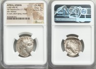 ATTICA. Athens. Ca. 440-404 BC. AR tetradrachm (25mm, 17.19 gm, 9h). NGC Choice AU 3/5 - 4/5. Mid-mass coinage issue. Head of Athena right, wearing cr...