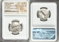 ATTICA. Athens. Ca. 440-404 BC. AR tetradrachm (24mm, 17.16 gm, 3h). NGC Choice XF 4/5 - 5/5. Mid-mass coinage issue. Head of Athena right, wearing cr...