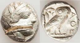 ATTICA. Athens. Ca. 440-404 BC. AR tetradrachm (24mm, 17.19 gm, 1h). Choice VF, test cut. Mid-mass coinage issue. Head of Athena right, wearing creste...