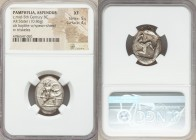 PAMPHYLIA. Aspendus. Ca. mid-5th century BC. AR stater (23mm, 10.86 gm, 1h). NGC XF 5/5 - 4/5. Helmeted hoplite advancing right, shield in left hand, ...