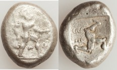 PAMPHYLIA. Aspendus. Ca. mid-5th century BC. AR stater (21mm, 10.80 gm, 9h). Fine. Helmeted hoplite advancing right, spear forward in right hand, shie...
