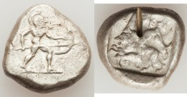 PAMPHYLIA. Aspendus. Ca. mid-5th century BC. AR stater (21mm, 10.99 gm, 11h). About VF, test cut. Helmeted hoplite warrior advancing right, shield in ...