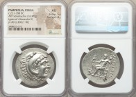 PAMPHYLIA. Perga. Ca. 221-188 BC. AR tetradrachm (32mm, 16.89 gm, 12h). NGC AU 5/5 - 4/5. Posthumous issue in the name and types of Alexander III the ...