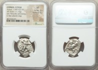 CYPRUS. Citium. Azbaal (ca. 449-425 BC). AR stater (23mm, 11.10 gm, 4h). NGC XF 4/5 - 5/5. Heracles advancing right, wearing lion skin around shoulder...