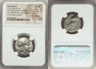 BACTRIA. Early Hellenistic era. Sophytes (?) (ca. 325/305-294 BC). AR tetradrachm (23mm, 16.96 gm, 5h). NGC Choice XF 5/5 - 3/5, scratches. Head of At...