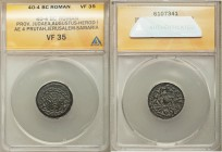 JUDAEA. Herodians. Herod I the Great (40-4 BC). AE 4 prutah (20mm). ANACS VF 35. Jerusalem-Samaria, Dated Year 3 (38/7 BC). Macedonian shield with dec...