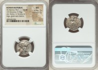 M. Marcius Mn.f. (ca. 134 BC). AR denarius (19mm, 3.94 gm, 6h). NGC MS 5/5 - 5/5. Rome. Helmeted head of Roma; modius to left, star below chin / Victo...