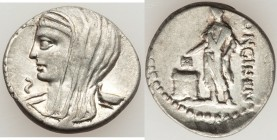 L. Cassius Longinus (ca. 60 BC). AR denarius (19mm, 3.62 gm, 3h). VF. Rome. Draped and veiled bust of Vesta left; cylix behind; Ꙅ below chin / LONGIN•...