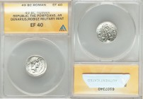 Q. Sicinius and C. Coponius (49 BC). AR denarius (18mm, 5h). ANACS XF 40. Military mint traveling with Pompey the Great. Q•SICINIVS-III•VIR, diademed ...