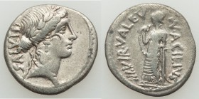 Mn. Acilius Glabrio (ca. 49 BC). AR denarius (18mm, 3.53 gm, 5h). VF. Rome. Laureate head of Salus right, wearing cruciform earring and bead necklace,...