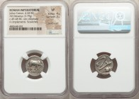 Julius Caesar, as Dictator (49-44 BC). AR denarius (16mm, 3.79 gm, 2h). NGC VF 4/5 - 3/5, punch mark, scratches. Military mint traveling with Caesar i...