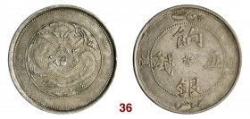 CINA Sinkiang Kuang Hsu (1875-1908) 5 Miscals AH 1323 (1905) L&M 819a Kr. Y6.6 Ag g 17,45 • Lievissimo colpetto q.SPL