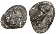 ATHENS: ca. 4th century BC, AR drachm (4.22g), cf. Sear-2538 for the generic type, head of Athena // owl, crude style, said to be contemporary imitati...