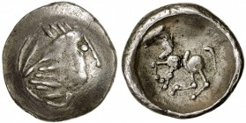 "CELTIC (EAST EUROPE): ca. 200-100 BC, AR ""tetradrachm "" (6.97g), OTA-303, stylized laureate head of Zeus right // stylized horse advancing left, VF-EF..."