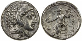 MACEDONIA: Alexander III, the Great, 336-323 BC, AR tetradrachm, bust of Heracles in lion skin right // Zeus seated left, uncertain symbol to left, we...