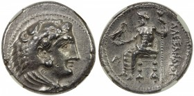 MACEDONIA: Alexander III, the Great, 336-323 BC, AR tetradrachm, early Ptolematic issue, Byblos mint, bust of Heracles in lion skin right // Zeus seat...