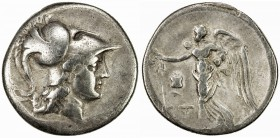 PAMPHYLIA: Anonymous, ca. 205-100 BC, AR tetradrachm (15.92g), Side, S-5436, SNG von Aulock 4792, helmeted head of Athena right // Nike flying left, h...