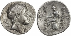 SELEUKID KINGDOM: Antiochos III, the Great, 223-187 BC, AR tetradrachm (16.43g), S-6936, head of Antiochos right, with idealized features // Apollo na...