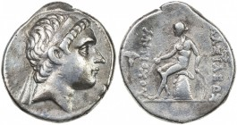 SELEUKID KINGDOM: Antiochos III, the Great, 223-187 BC, AR tetradrachm (17.04g), ND, S-6934, king's head right // Apollo seated on omphalos, holding o...