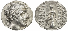 SELEUKID KINGDOM: Alexander I Balas, 150-145 BC, AR drachm (2.98g), ND, S-7035, king's head right, diademed // naked Apollos seated on Omphalos, holdi...