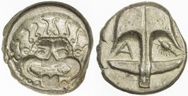 THRACE: Anonymous, ca. 400-350 BC, AR diobol (3.51g), Apollonia Pontika, S-1657, SNG BMC 160-1, laureate head of Gorgoneion facing with curls // ancho...