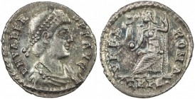 ROMAN EMPIRE: Valens, 364-378 AD, AR siliqua (1.88g), S-19675, Roma seated on throne, holding Victory on globe, and resting on sceptre, mint mark TR P...